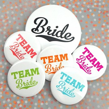 Team Bride Buttons (Set of 12, plus 1 Free) - 21 Color Options