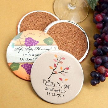 Personalized Two-Sided Wedding Coasters