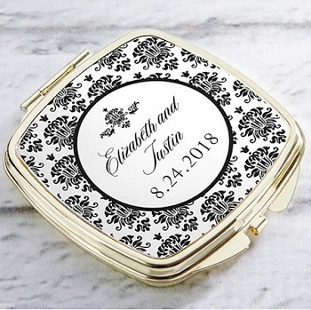 Personalized Gold Compact Mirror - Damask Theme