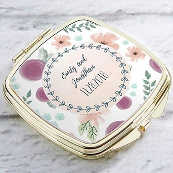 Personalized Gold Compact Mirror - Bridal Floral