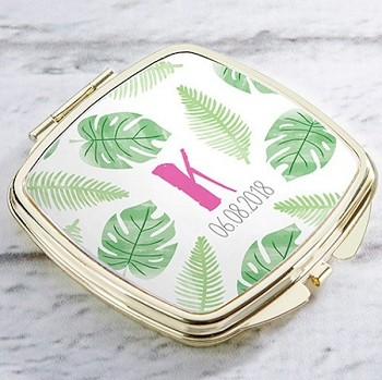 Personalized Gold Compact Mirror - Pineapples and Palms
