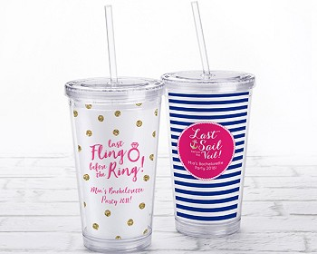 Acrylic Tumbler with Personalized Insert - Bachelorette