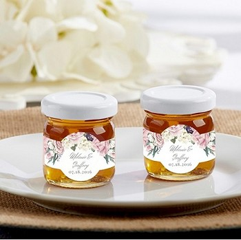Personalized Honey Jar Favors - Floral  (set of 12)