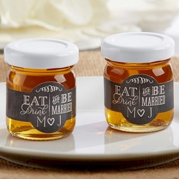 Personalized Bee Honey Jars (Set of 12) - Eat, Drink & Be Married