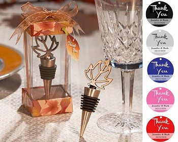 Autumn Fall Leaf Wine Bottle Stopper with Personalized Thank You Tag