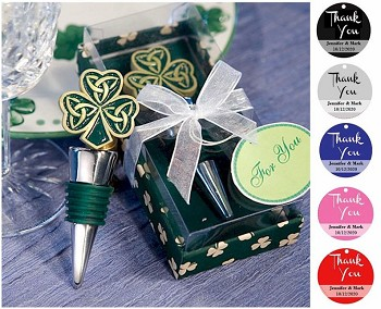 Shamrock Trinity Wine Bottle Stopper with Personalized Thank You Tag