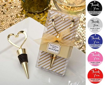 Gold Heart Heart Wine Stopper with Personalized Thank You Tag