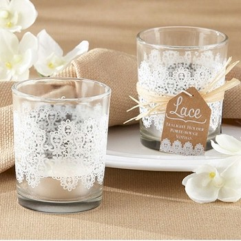 Lace Glass Tealight Holder Set of 4