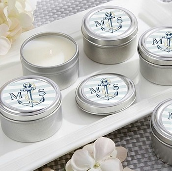 Monogrammed Anchor Travel Tin Candle