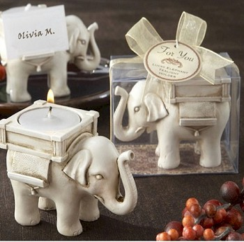 Lucky Elephant Ivory-Finish Tea Light Holder