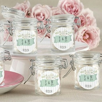 Rustic Flower Design Glass Jar Favors (set of 12)