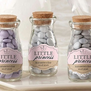 Little Princess Baby Shower Milk Bottle Jar Favors (set of 12)