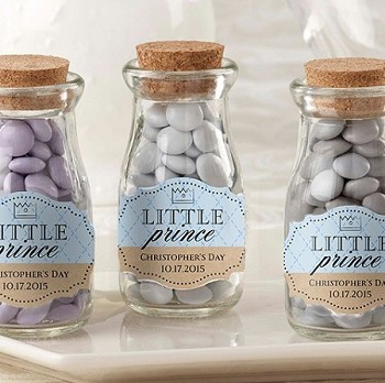 Little Prince Personalized Milk Bottle Jar Favors (set of 12)