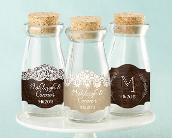 Personalized Mini Milk Bottles - Rustic Charm (Set of 12)