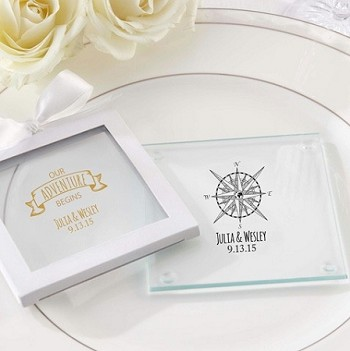 Personalized Glass Coasters - Travel (set of 12)