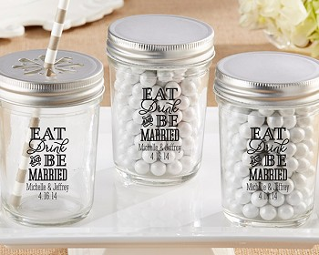 Eat, Drink & Be Married Mason Jar (Set of 12)