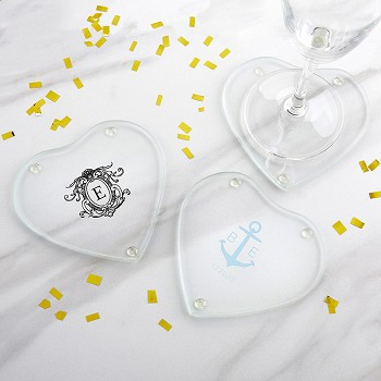Personalized Glass Heart Shaped Coaster (Set of 12)