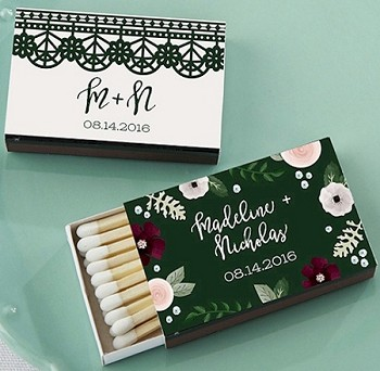 Personalized Wedding Matchboxes (Set of 50) - Romantic Garden