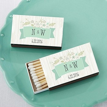 Personalized Rustic Theme Matchbox Favors (Set of 50)