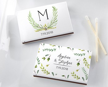 Personalized White Matchboxes (Set of 50) - Botanical Garden