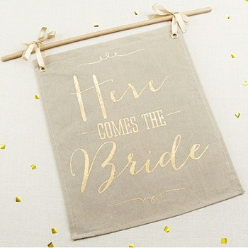 Gold Foil Here Comes the Bride Sign