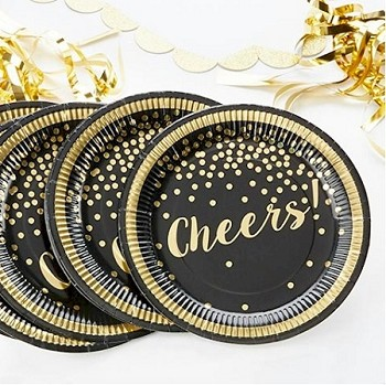 Gold Foil Cheers Paper Plates (Pack of 8 Plates) - Party Time