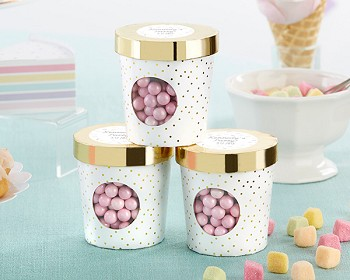 Personalized Ice Cream Favor Box - Gold Dot (Set of 12)