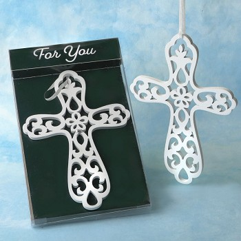 Heaven Sent Collection White Wood Cross Ornament