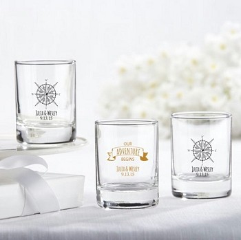 Travel and Adventure Personalized Shot Glass Favors (3.5 oz)