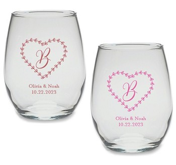 Monogram Rustic Heart Personalized Stemless Wine Glass (9 or 15 oz)