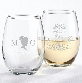 English Garden Stemless Wine Glass WeddingParty Favors (9 oz) -