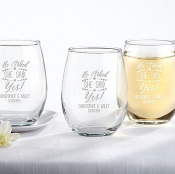 He Asked, She Said Yes Stemless Wine Glass (9 oz)