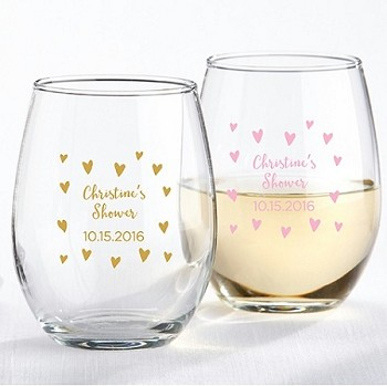 Sweet Heart Design Personalized Stemless Wine Glass (9 oz)