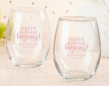 Personalized 9 oz. Stemless Wine Glass - Birthday For Her