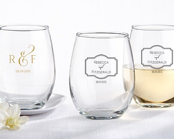 Personalized Stemless Wine Glass (9 oz) - Classic Wedding Design