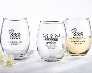 Personalized 9 oz. Stemless Wine Glass - Little Prince
