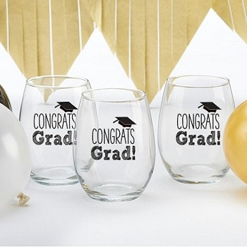 Congrats Grad 15 Once Stemless Wine Glass Graduation Favors (set of 4)