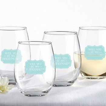 Will You Be My Bridesmaid Wine Glass (Set of 4)