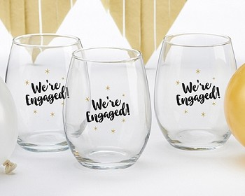 We're Engaged 15 oz. Stemless Wine Glass (Set of 4)