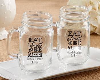 Personalized 16 oz. Mason Jar - Eat, Drink & Be Married