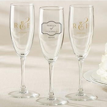 Personalized Champagne Flute - Classic Wedding