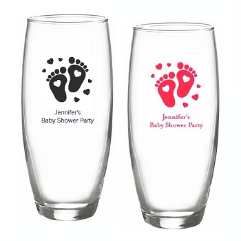 Baby Feet Personalized Stemless Champagne Glasses (9 oz)