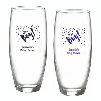 It's A Boy Personalized Stemless Champagne Glasses (9 oz)