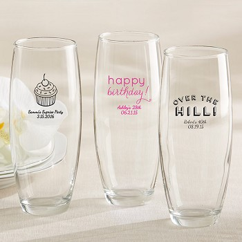 Birthday Party Personalized Stemless Champagne Glasses  (9 oz)