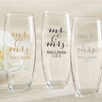 Personalized Stemless Champagne Glass - Mr. & Mrs.