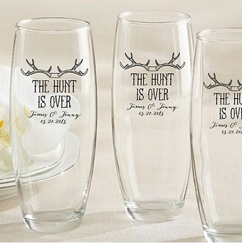 Personalized Champagne Glass - The Hunt Is Over