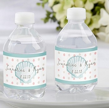 Beach Theme Personalized Water Bottle Labels