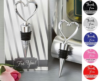 Silver Metal Heart Shaped Wine Stopper with Personalized Thank You Tag