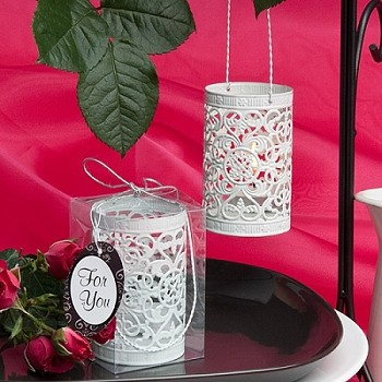 White Filigree Design Luminary