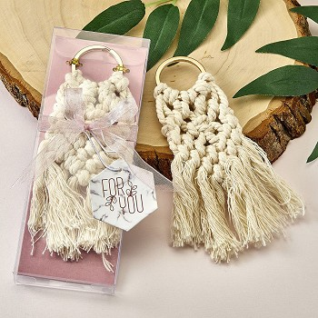 Macrame Boho Key Chain with Gold Metal Ring